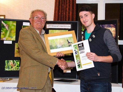 The overall winner of the 2014 GWT Photographic Competition. Mr Gavin Vella being presented with his prize by GWT President Roger James