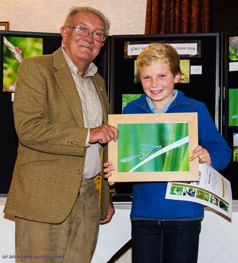 This young gentleman  is Ieuan Rose who came runner up in the under 16's with a great photo of a pair of Azure Damselflies in cop. He was presented with his prize by GWT President Roger James.